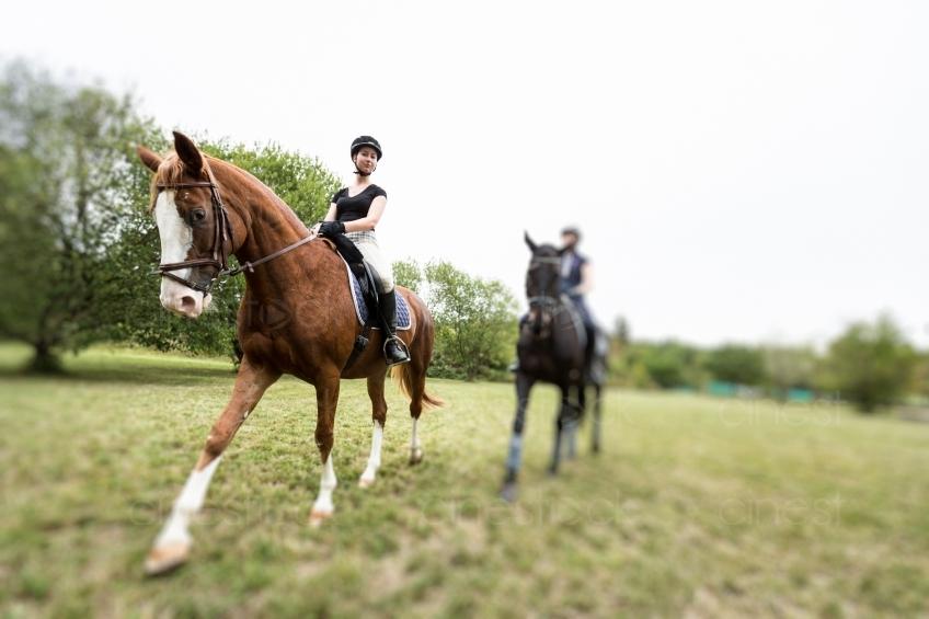 Frauen auf Pferd 20150913-1100 - Cinestock - Lizenzfreie